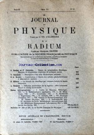 JOURNAL DE PHYSIQUE (LE) no:11 01/11/1932