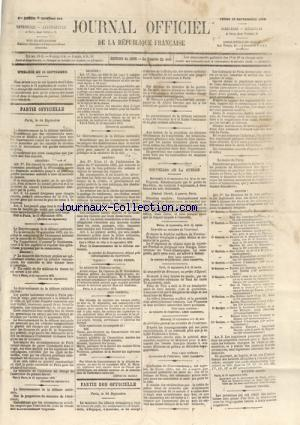 JOURNAL OFFICIEL DE LA REPUBLIQUE FRANÇAISE no:254 15/09/1870
