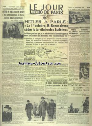JOUR L'ECHO DE PARIS (LE) no:269 27/09/1938
