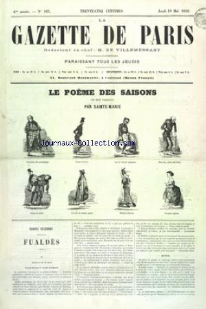 GAZETTE DE PARIS (LA) no:163 19/05/1859