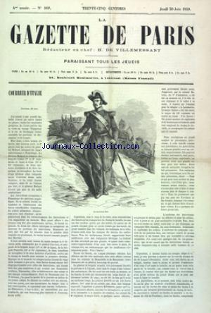GAZETTE DE PARIS (LA) no:169 30/06/1859
