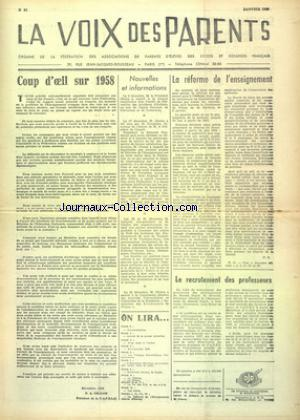 VOIX DES PARENTS (LA) no:91 01/01/1959