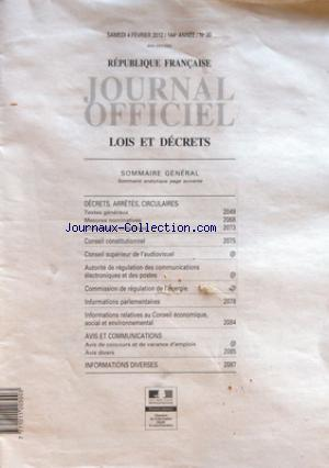 JOURNAL OFFICIEL DE LA REPUBLIQUE FRANÇAISE no:30 04/02/2012