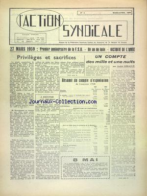 ACTION SYNDICALE (L') no:3 01/03/1959