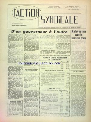 ACTION SYNDICALE (L') no:6 01/02/1960