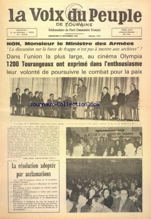 VOIX DU PEUPLE DE TOURAINE  (LA) no:1165 24/11/1963