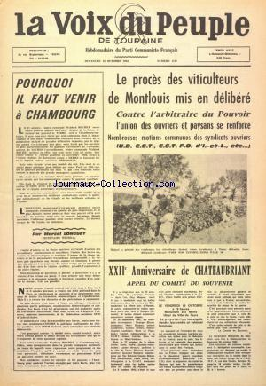 VOIX DU PEUPLE DE TOURAINE  (LA) no:1159 13/10/1963