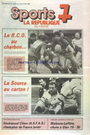 REPUBLIQUE DU CENTRE SPORTS 7 (LA) no: 14/03/1988