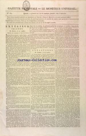 GAZETTE NATIONALE OU LE MONITEUR UNIVERSEL no:184 25/03/1800