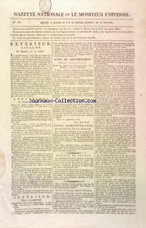 GAZETTE NATIONALE OU LE MONITEUR UNIVERSEL no:185 26/03/1800