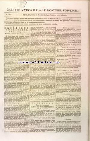 GAZETTE NATIONALE OU LE MONITEUR UNIVERSEL no:207 17/04/1800