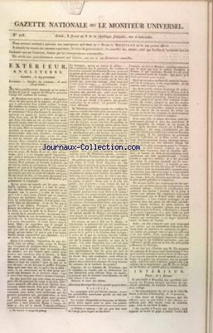 GAZETTE NATIONALE OU LE MONITEUR UNIVERSEL no:218 28/04/1800
