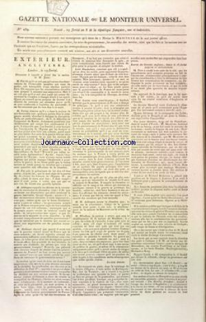 GAZETTE NATIONALE OU LE MONITEUR UNIVERSEL no:239 19/05/1800
