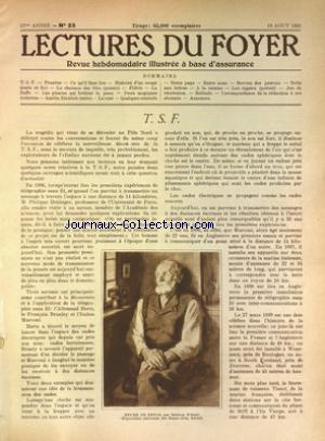 Lectures du foyer no:33 18/08/1928