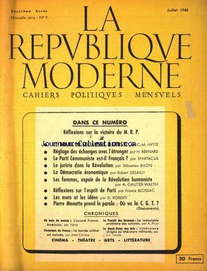 REPUBLIQUE MODERNE (LA) no:9 01/07/1946