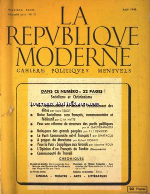 REPUBLIQUE MODERNE (LA) no:10 01/08/1946