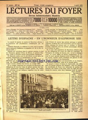 LECTURES DU FOYER no:14 04/04/1925
