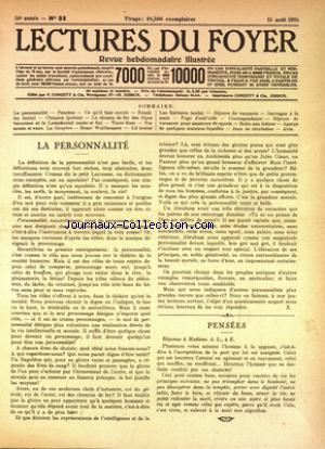 LECTURES DU FOYER no:33 15/08/1925