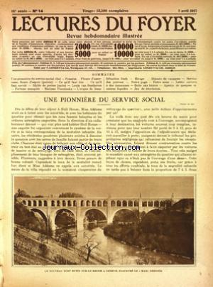 LECTURES DU FOYER no:14 02/04/1925