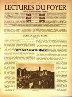 LECTURES DU FOYER no:33 13/08/1927