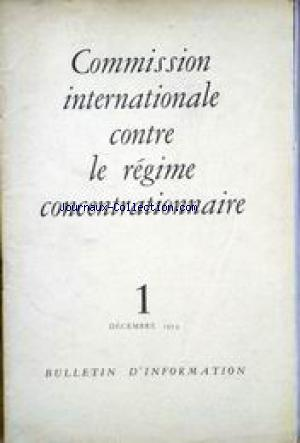 COMMISSION INTERNATIONALE CONTRE LE REGIME CONCENTRATIONNAIRE no:1 01/12/1954