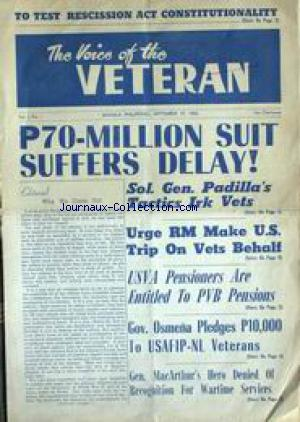 VOICE OF THE VETERAN (THE) no:1 19/09/1955