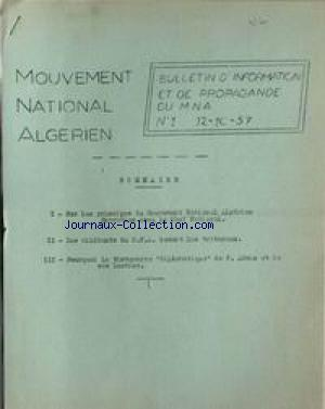 MOUVEMENT NATIONAL ALGERIEN no:1 22/09/1966