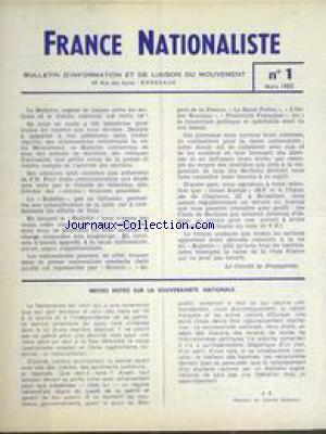 FRANCE NATIONALISTE no:1 01/03/1963