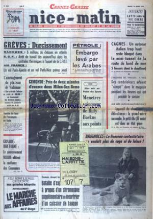 NICE MATIN CANNES GRASSE no:9601 19/03/1974