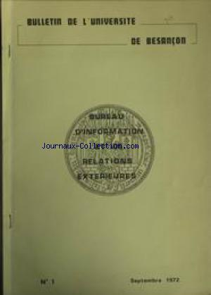 BULLETIN DE L'UNIVERSITE DE BESANCON no:1 01/09/1972
