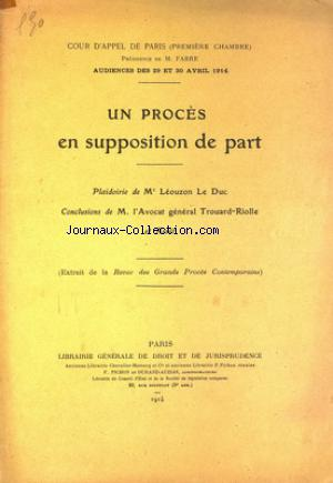 GRANDS PROCES COMPTEMPORAINS no: 29/04/1914